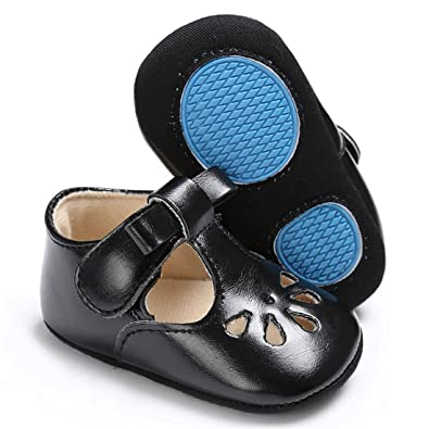 f3bde4984d22 BEBARFER Baby Girls Shoes Mary Jane Flats with Bowknot Non-Slip Soft Sole  Toddler Infant First Walkers Crib Ballet Princess Dress Shoes