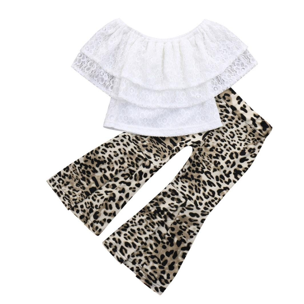 CSSD Children Kids Casual Outfits Clothes, Lace Off Shoulder Tops+Leopard Wave Pants (3T, White)