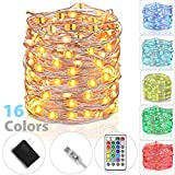 tesyker Fairy Lights, USB Powered Dimmable 16 Colors 33 Ft 100 LEDs Multicolor Silver Wire Color Lights Remote, Waterproof String Lights Indoor Bedroom Christmas Wedding Costume