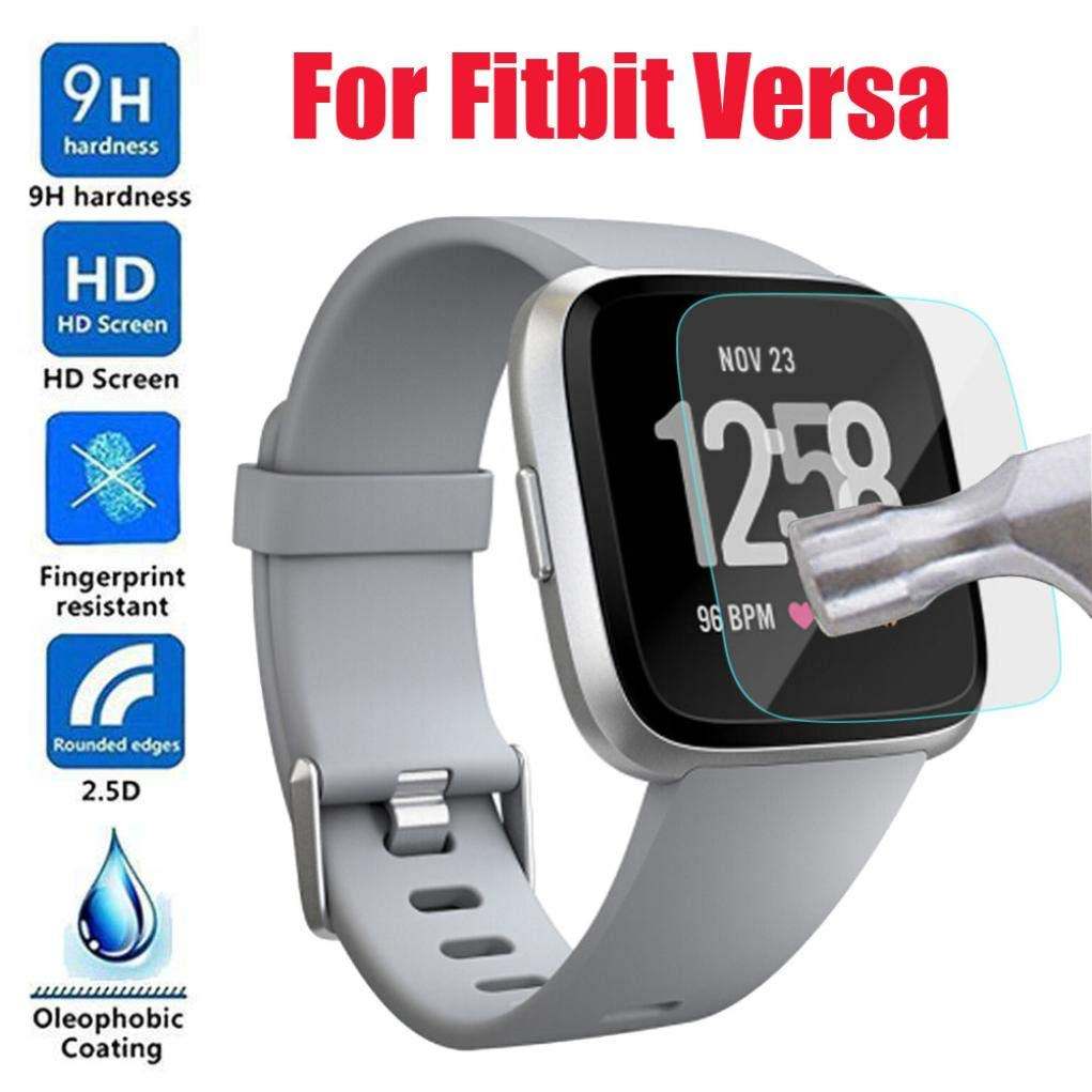 Lovewe Fitbit Versa Screen Protector,Waterproof HD Tempered Glass LCD Screen Protector Film for Fitbit