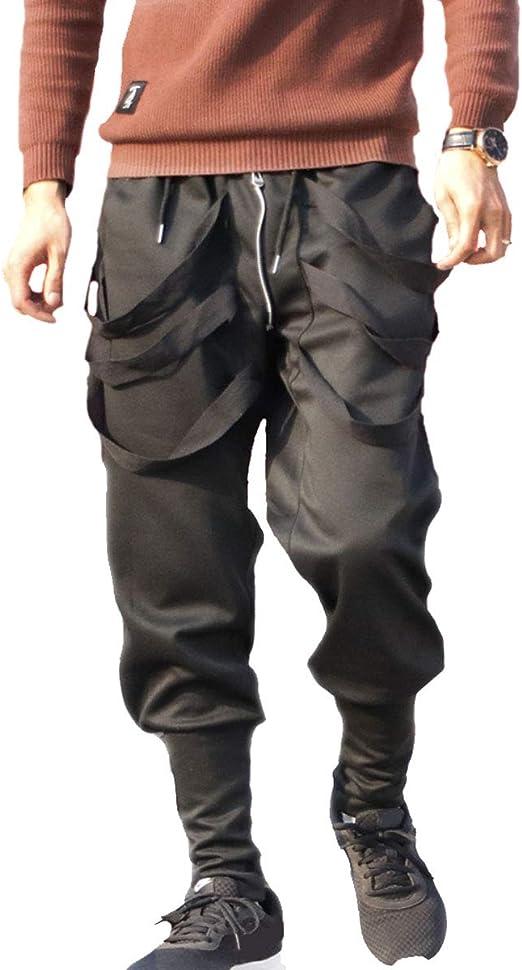 Men/'s Slim Long Straight Leg Trousers Low Crotch Pencil Jogger Cargo Chino Pants