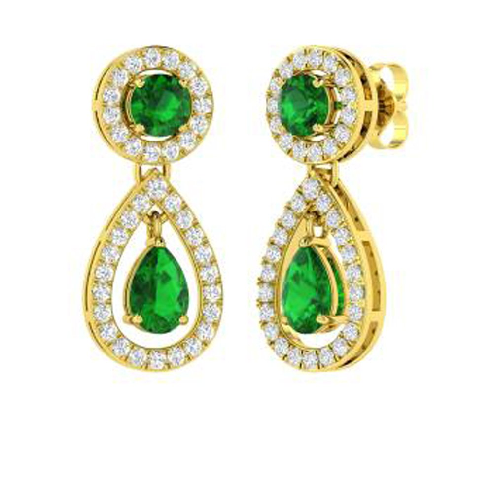 Dividiamonds 1.95 Carat Pear /& Round Cut Green Emerald /& Sim Diamond Drop Earrings Solid 14K Gold Plated