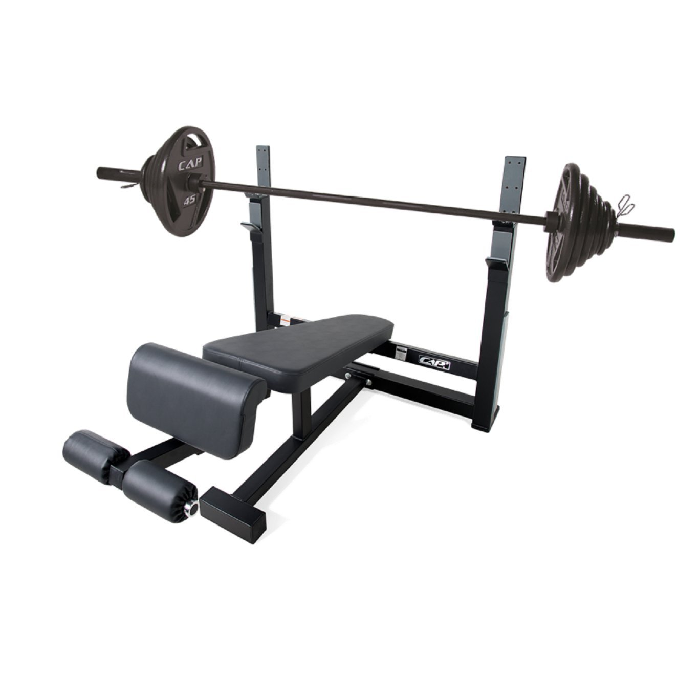 CAP Barbell 300-Pound Black Olympic Grip Set with Olympic Decline Bench