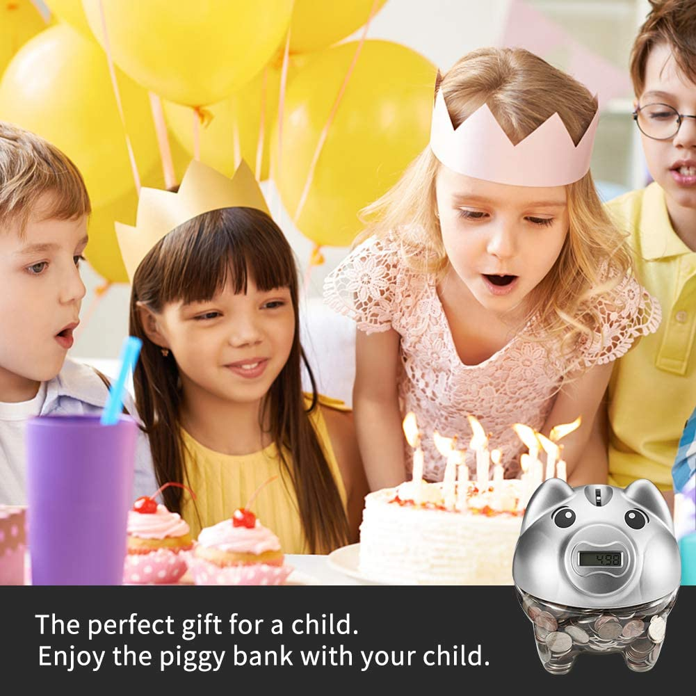 Digital Counting Coin Bank with LCD Display Automatic Coin Counter Totals All U.S SYYISA Piggy Bank Gold Coins Makes a Perfect Unique Gift for Kids Adults Boys Girls