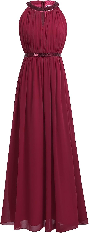 iEFiEL Damen Kleider Elegant festlich Hochzeit Sommer Kleider Lang Chiffon Abendkleid Party Kleid A Linien Cocktailkleid Gr. 36-46