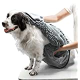 Tuff Pupper Large Dog Shammy Towel   Ultra Absorbent   Durable 35 x 15 Size for Dogs of All Breeds   Quick Drying Chenille   Designed for Indoor and Outdoor Use   Machine Washable (XL, Cool Grey)