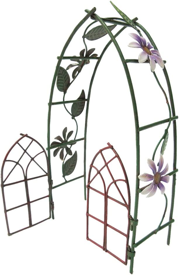 Pacific Giftware Enchanted Mini Fairy Garden Accessories Decorative Metal Garden Arbor Gate Arch Shape with Floral Design 6.5 inch Tall
