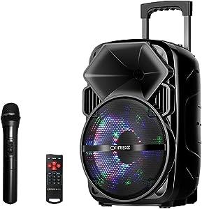 EARISE Bluetooth PA Speaker System with Wireless Microphone, Portable Outdoor Karaoke Machine - Fun Wireless Speaker for Party - V30 Black