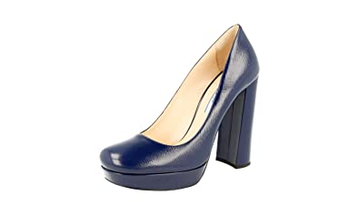 85eb6dfee0c Prada Women s 1IP288 Blue Saffiano Leather Pumps Heels EU 37 ...