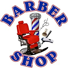 """12"""" BARBER CHAIR SHOP VINYL DECAL BLUE TEXT FOR SALON SHOP WINDOW WALL NICE GRAPHIC"""