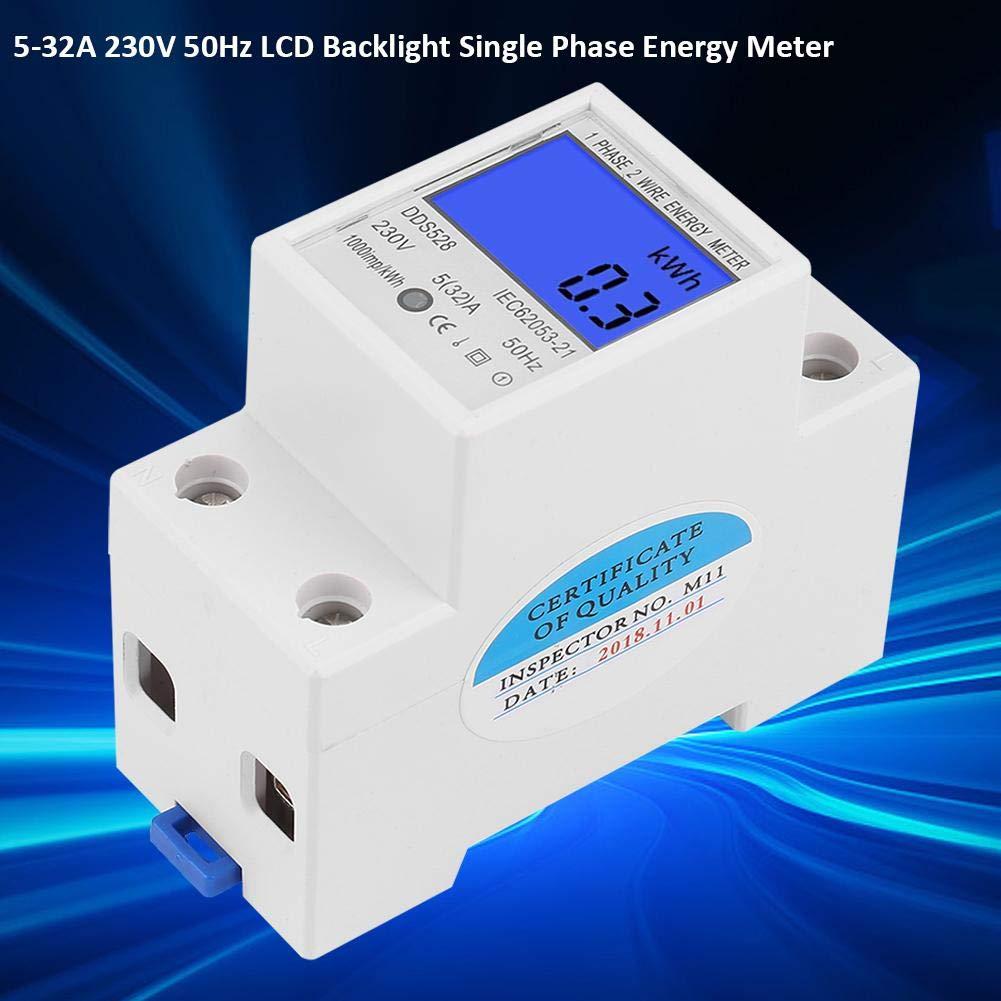 Compteur d/énergie monophas/é 5-32A 230V 50Hz montage sur rail DIN DDS528 Wattm/ètre /écran LCD r/ésistance aux perturbations /électromagn/étiques /électricit/é antivol