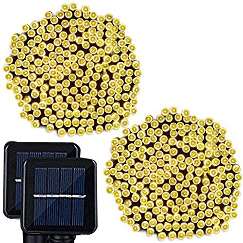 Solar String Lights, Lampat 300 Led Holiday String Lighting Outdoor Solar Patio Lights Fit Christmas Garden Wedding Party Landscape[Warm White], 2 Pack 600 LED (Christmas Led Lights Solar)