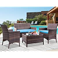 Leisure Zone 4 PCS Patio Furniture Outdoor Garden...