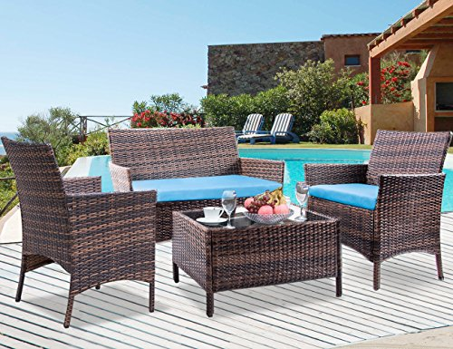 Cushion Outdoor Patio Furniture - Leisure Zone 4 PCS Patio Furniture Set Outdoor Garden Conversation Wicker Sofa, Blue Cushion