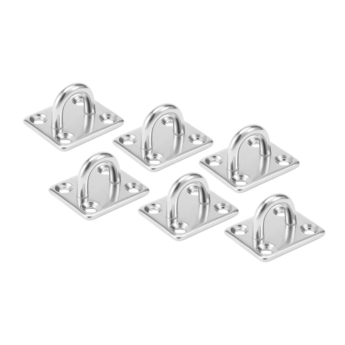 uxcell 316 Stainless Steel 5mm Thick Ring Square Sail Shade Pad Eye Plate Boat Rigging 6pcs
