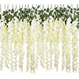 YSBER 6 Piece /12 Piece 3.6 Feet Artificial Fake Wisteria Vine Rattan, Hanging Silk Flowers String for Home Party, Yard and Wedding (6PCS, White)