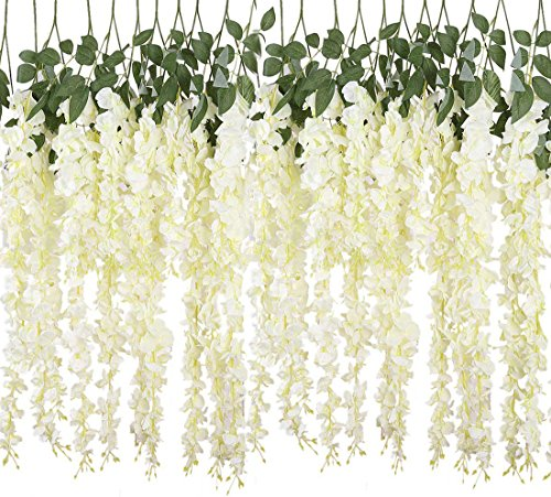 YSBER 6 Piece /12 Piece 3.6 Feet Artificial Fake Wisteria Vine Rattan, Hanging Silk Flowers String for Home Party, Yard and Wedding (6PCS, White) (Paper White Silk Plant)
