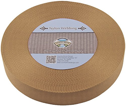 Country Brook Design | Coyote TAN 1 1/2 Inch Heavy Nylon Webbing (10 Yards) - Nylon Coyote Webbing