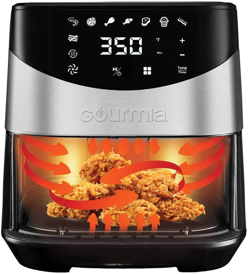 Multi-Purpose Rack /& 4 Skewers Gourmia Digital Stainless Steel 6 Qt//5.7L Digital Air Fryer With AeroCrispTM Technology for up to 80/% less fat.includes Non-Stick Basket