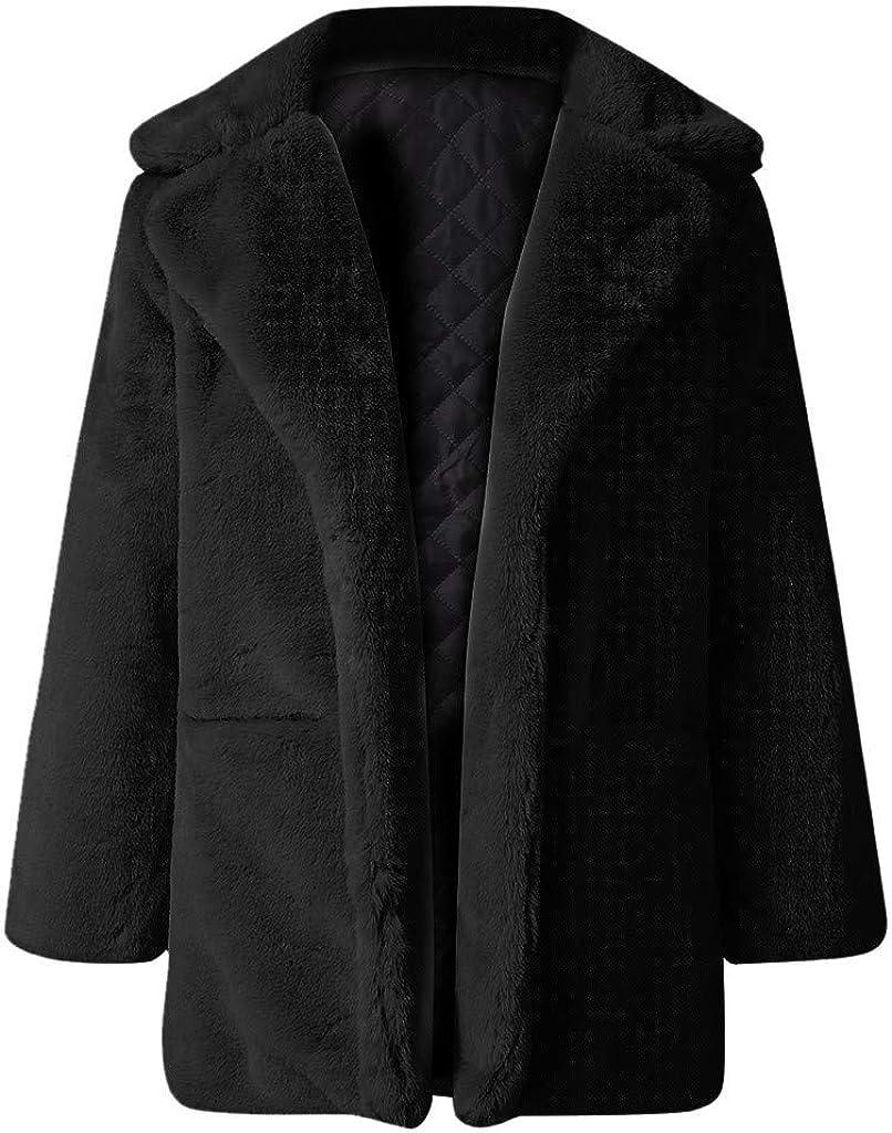 Women Faux Fur Loose Coats Winter Hooded Cardigan Jacket Warm Thick Outerwear Coat Long Overcoat