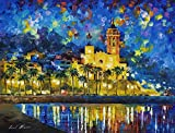Leonid Afremov Original Image From Painting Spain Sitges Print On Artistic Cotton Canvas, Size: 30''X40''