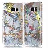 Galaxy S7 Edge Case,DAMONDY 3D Shiny Marble Glitter Ultra Thin Slim Back Skin Full Body Protective Soft TPU Rubber Bumper Case Phone Cover For Samsung Galaxy S7 Edge-gold