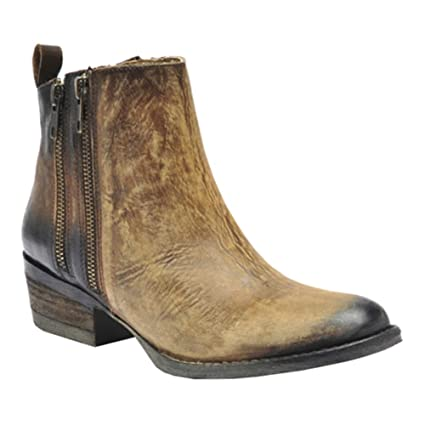 adb9b7e3866 Corral Women's 6-inch Burnished Brown Double Zipper Round Toe Distressed  Cowboy Boot