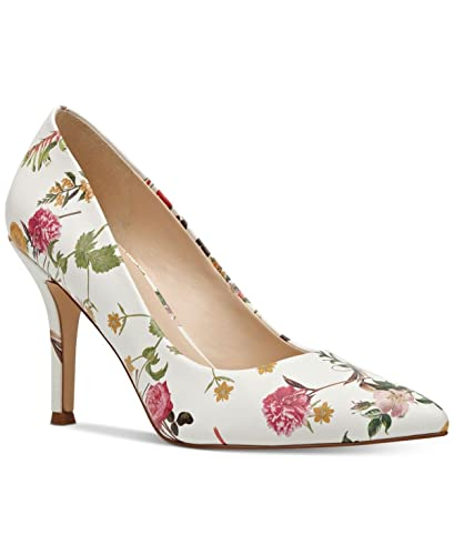 7c2a019dd Amazon.com | Nine West Womens Flax Canvas Pointed Toe Classic Pumps, White  Floral, Size 9.0 W | Shoes