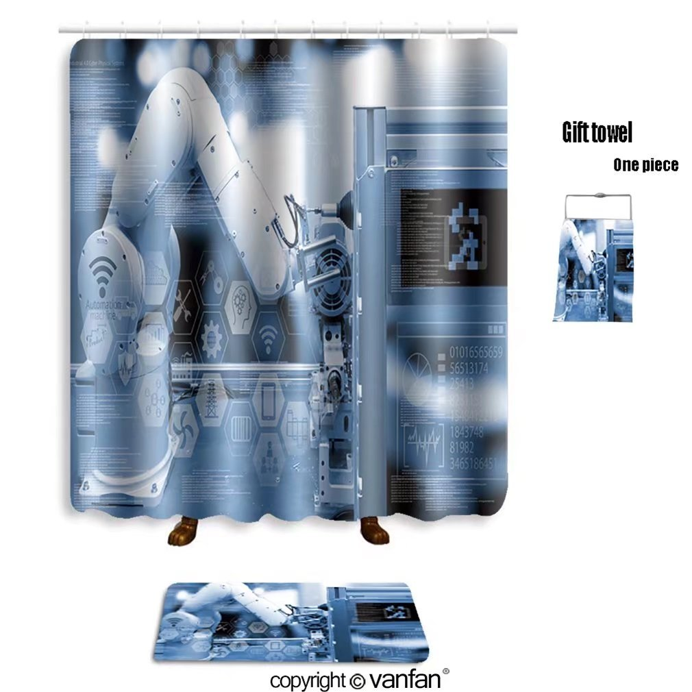 vanfan bath sets with Polyester rugs and shower curtain industry concept industry graphic sign and bl shower curtains sets bathroom 72 x 72 inches&31.5 x 19.7 inches(Free 1 towel and 12 hooks)