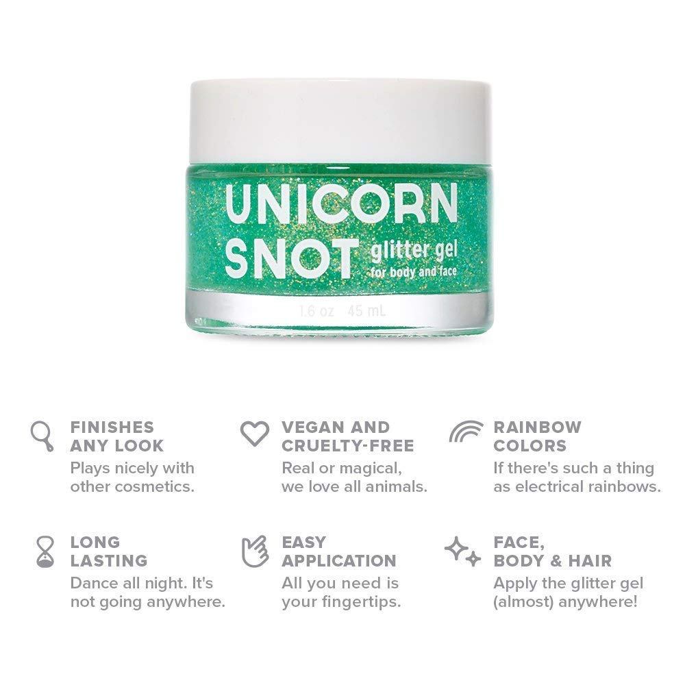 Unicorn Snot - Holographic GLITTER GEL SET for Body, Face, and Hair - Value Set of Five (5) in 45ml Pink, Purple, Blue, Silver and Gold (Vegan & Cruelty-Free)