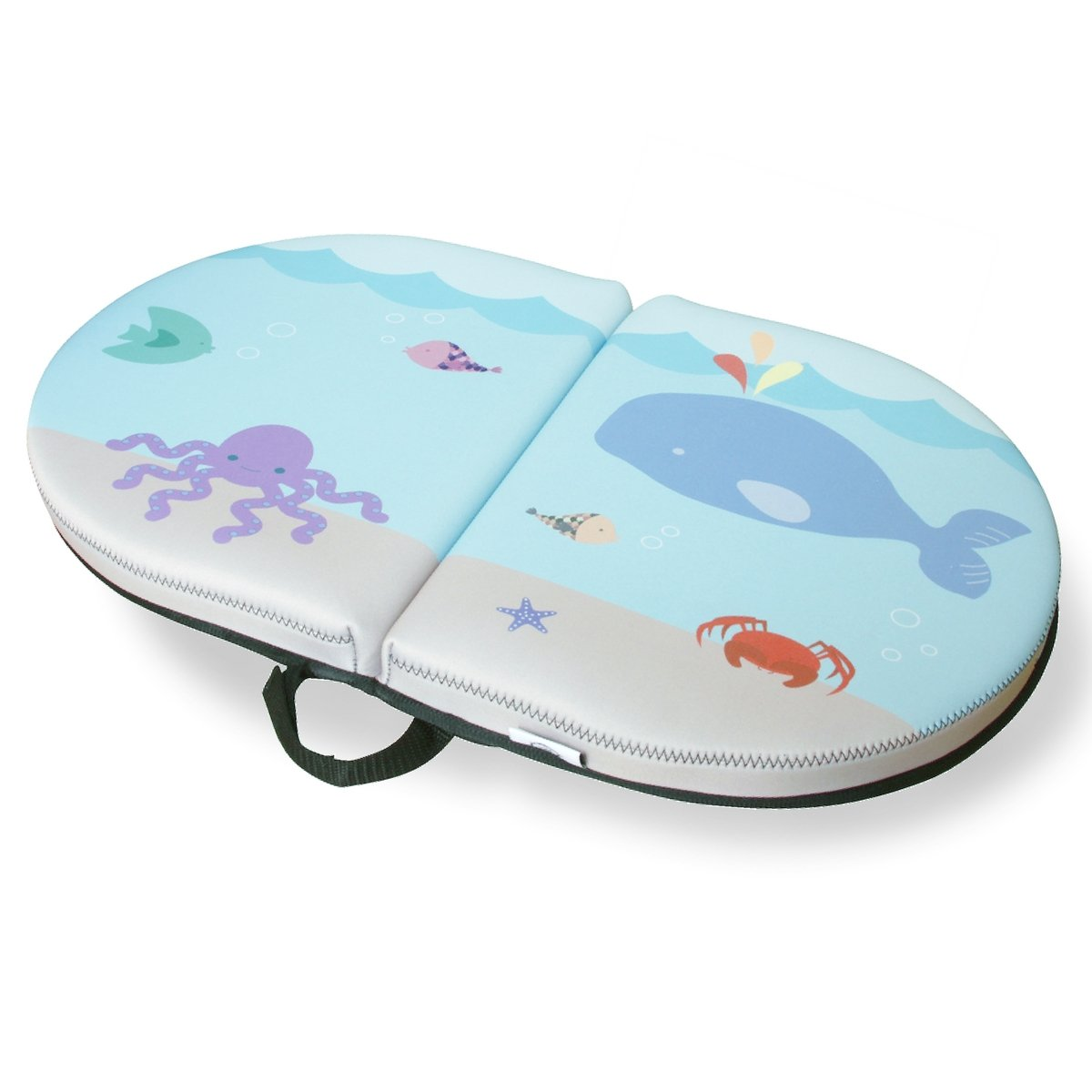 Blue Whale Baby Bath Kneeler - PAD Cushions & Supports Knees for Longer Tub Time, 22'' Extra-Wide 1.5'' Thick & Cushy Foam, Non-Slip Safety Backing, Easy to Clean Removable Cover (Blue)