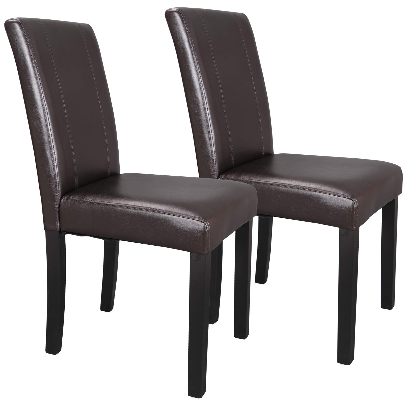 SUPER DEAL Solid Wood Leatherette Padded Parson Dining Chair, Waterproof & Oilproof Stretch Kitchen Dining Room Chairs, Espresso (2) by SUPER DEAL