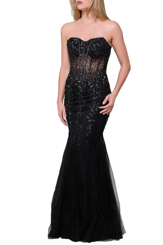 Blackb Yisha Bello Women's Sweetheart Strapless Crystal Beaded Mermaid Formal Prom Evening Dresses