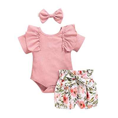 Sameno 3pcs Toddler Baby Girls Floral Ruffles Cap Sleeve Romper w/Short Pants Bowknot Headband Summer Outfit 0-2 Years: Sports & Outdoors