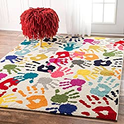 nuLOOM Handprint Collage Kids Nursery Area Rugs, 8' x 10', Multicolor