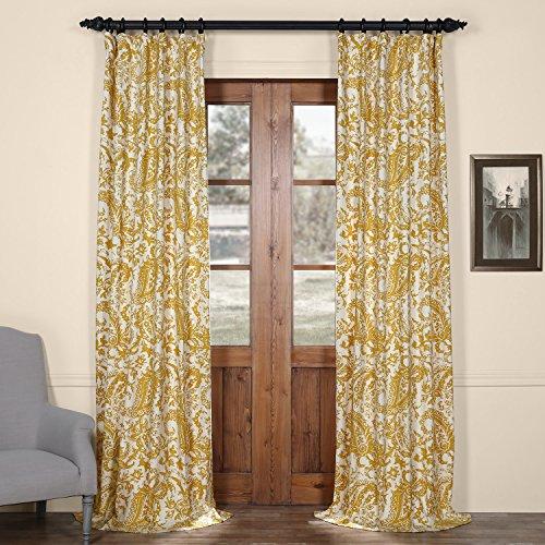Half Price Drapes PRCT-D09B-84 Edina Printed Cotton Curtain, Yellow