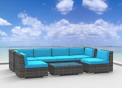 Urban Furnishing.net   OAHU 7pc Modern Outdoor Backyard Wicker Rattan Patio  Furniture Sofa Sectional