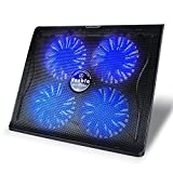 Vanble Dual USB Port Portable Laptop Cooling Pad with Blue LED Fans and Adjustable Height Setting, Black (15.6-Inch to 17.3-Inch, 4 Fans)