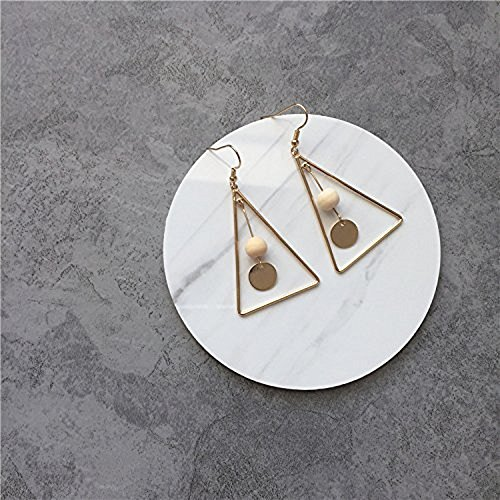 White Vintage Earring - Leiothrix Vintage Triangle White Wooden Bead Paillette Earrings for Women and Girls Apply to Party and Casual