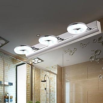 Bad Spiegel Lampe, (46CM-9W) LED Drei-Kopf Spiegel Scheinwerfer Einfache  Edelstahl Bad Badezimmer Lampe / Spiegel Schrank Licht / Wandleuchte / ...
