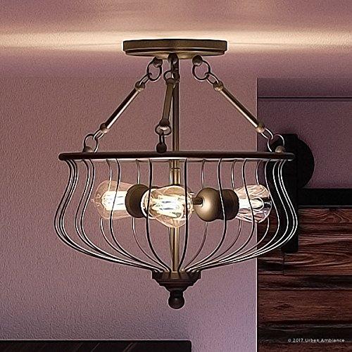Tuscan 3 Light Bathroom Fixture (Luxury Industrial Semi-Flush Ceiling Light, Medium Size: 15.25