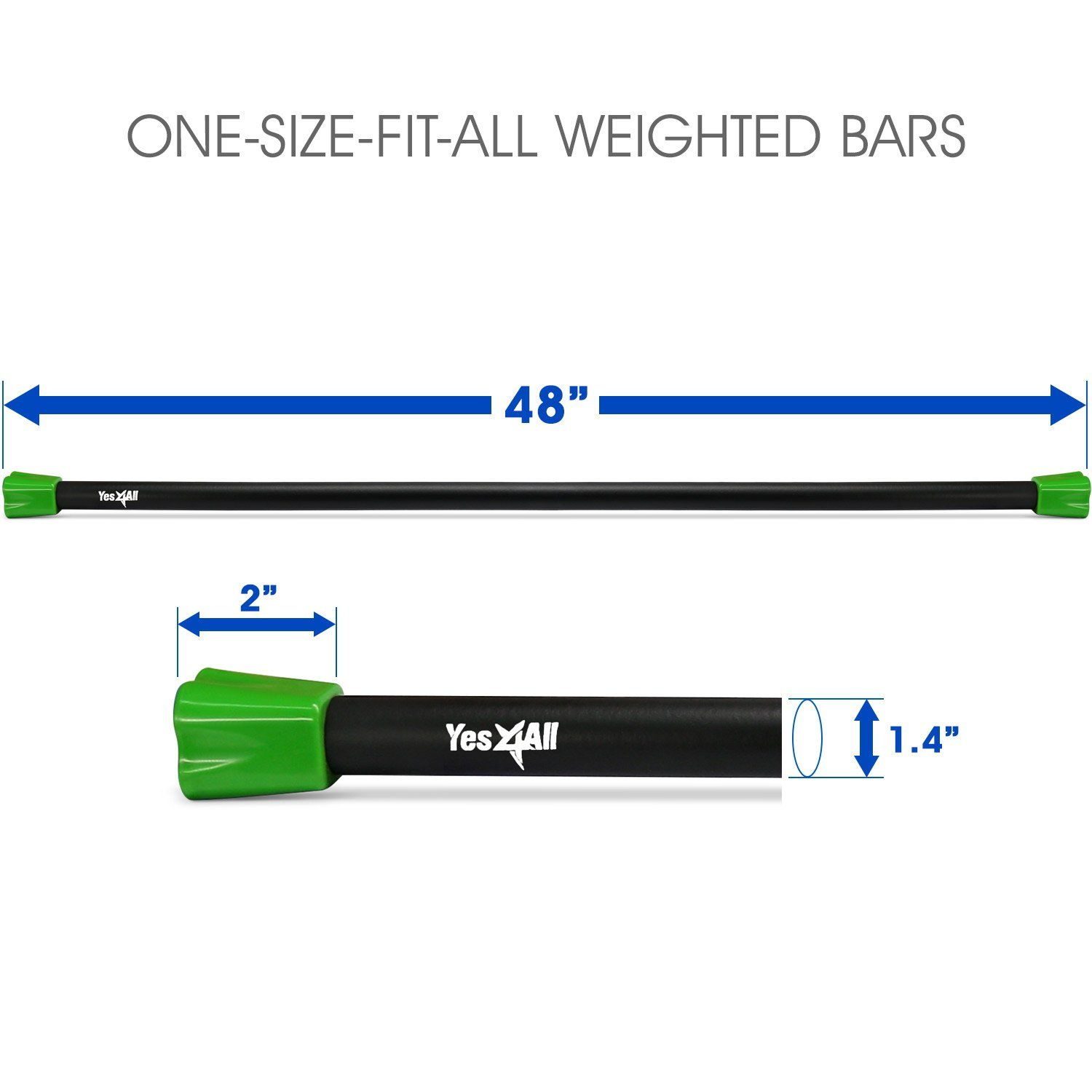 Yes4All Total Body Workout Weighted Bar / Weighted Workout Bar – Great for Physical Therapy, Aerobics and Yoga – Weighted Exercise Bar (10 lbs) by Yes4All (Image #2)