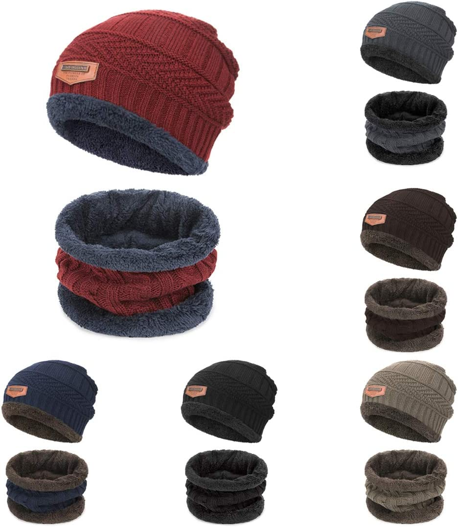 Winter Thermal Knitted Heanie Hat and Circle Scarf Set for Women//Men Warm Snood Suit for Men Indoors and Outdoor Sports