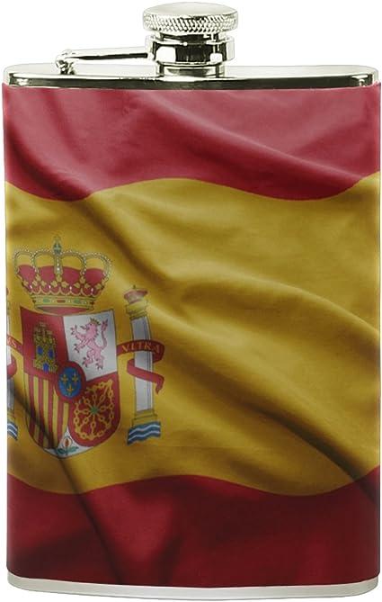 Botella de acero inoxidable con diseño de bandera de España, botella de vino con alcohol, diseño de bandera de España: Amazon.es: Hogar