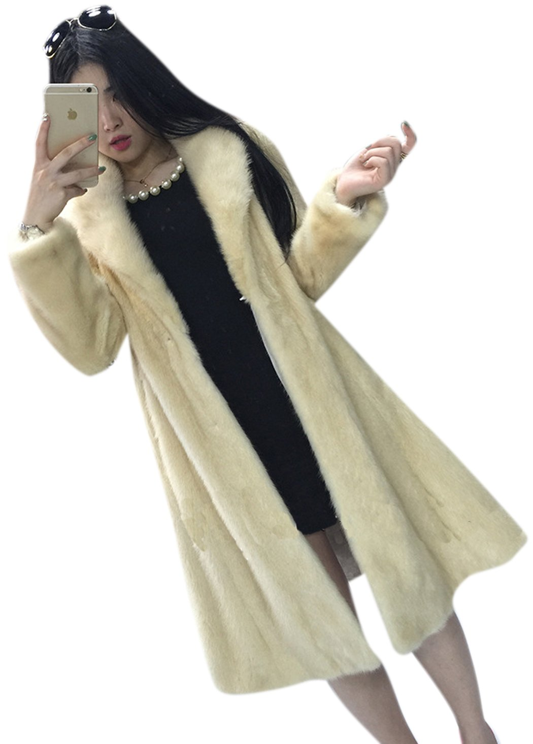Women's Beige Luxury Faux Mink Fur Slim Lapel Long Sleeve Thick Warm Maxi Coat XL