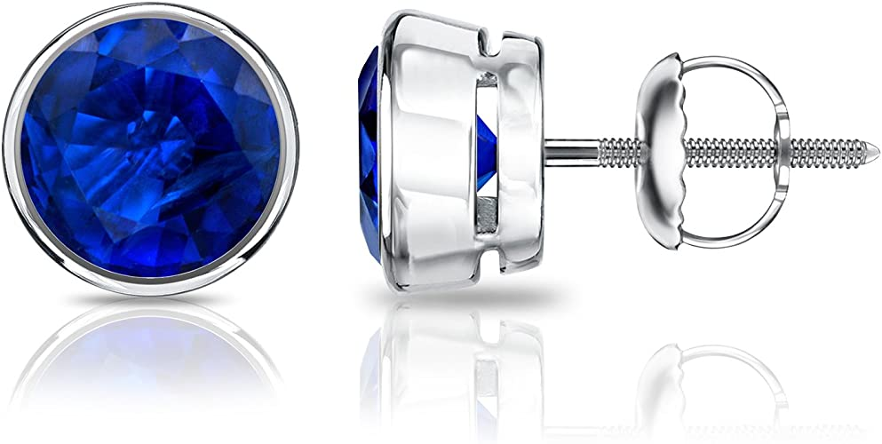 2 ct White Sapphire Round Screw back Stud Earrings in 14k White Gold//Silver