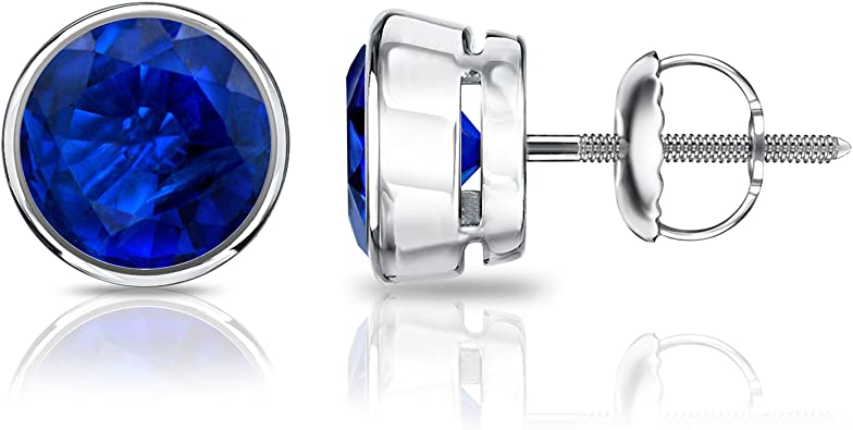Solid 925 Sterling Silver black finish blue sapphire star earring studs price for 1 pair