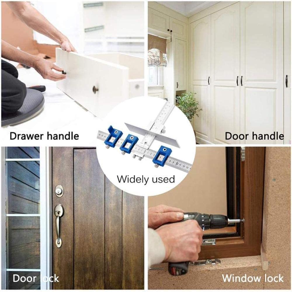 Drill Guide Sleeve Cabinet Hardware Jig Drawer Pull Jig Wood Drilling Dowelling Hole Saw Master System-Silver Silver