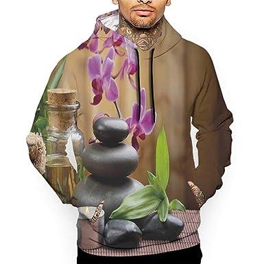 colerapee Hoodies Sweatshirt/Men 3D Print Spa,Warm Welcoming Spa Reception Big Healing Stones Candles Scent Flowers Print,Purple Black and Green Sweatshirts for Teen Girls