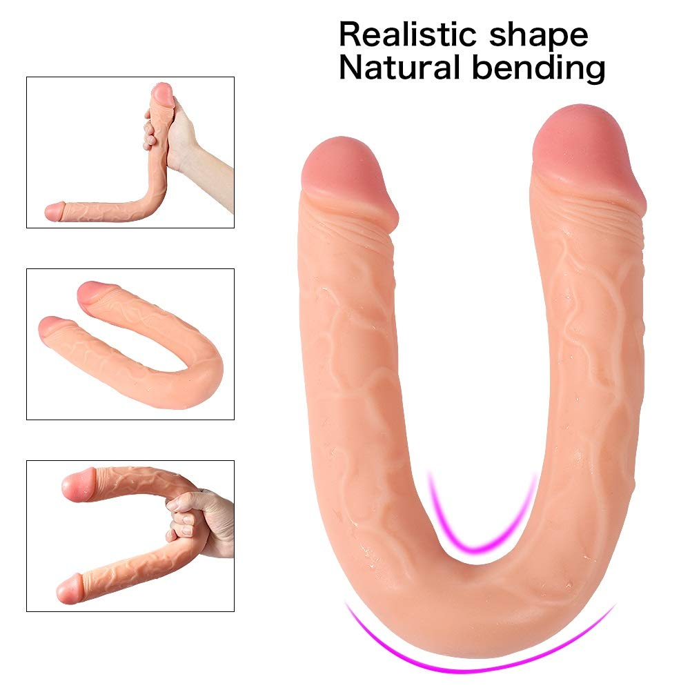 Llq2019 Waterproof 18 Inch Realistic Double Dong,Double Ended Massage Toy for Women